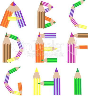 pencills alphabet A-I