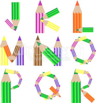 pencills alphabet J-R