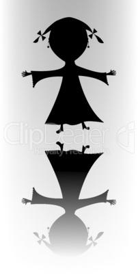 happy little girl silhouette