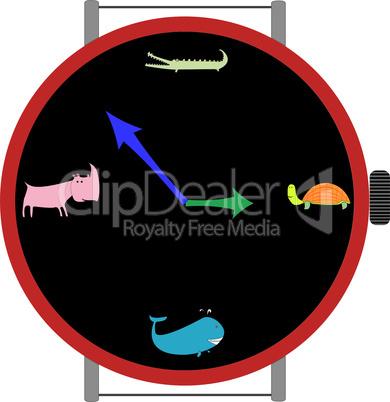 clock with animals