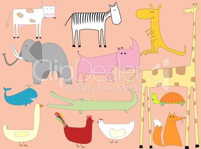 animals cartoon over pink background