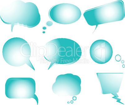 collection of stylized blue text bubbles- vector isolated objects on white