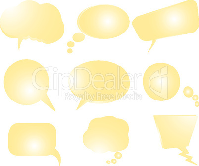 collection of stylized yellow text bubbles- vector isolated objects on white