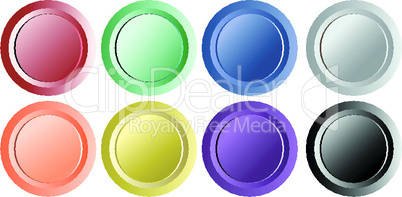 set of vintage retro buttons isolated on white background