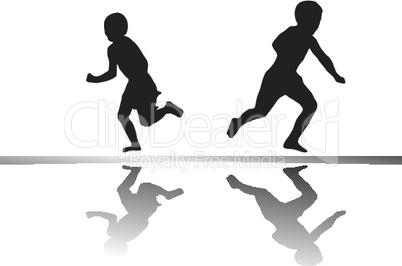 kids running isolated on white