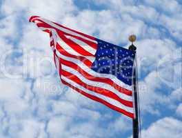 USA flag waving on the wind