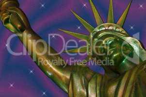 Nachbildung der Freiheitsstatue mit Sternen und Streifen