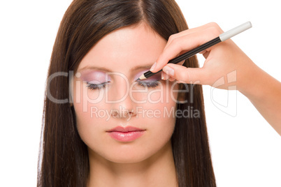 Professional makeup model artist make eye lines