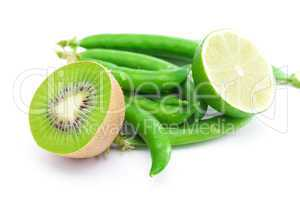 lime,peas and kiwi  isolated on white