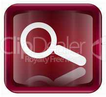 magnifier icon dark red, isolated on white background