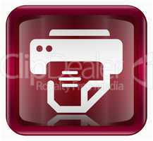 printer icon dark red, isolated on white background