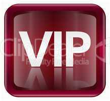 VIP icon dark red, isolated on white background