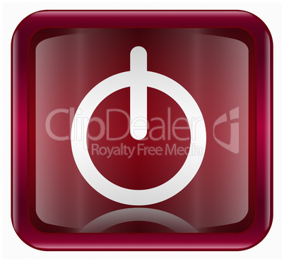 power button icon dark red, isolated on white background