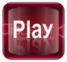 Play icon dark red, isolated on white background