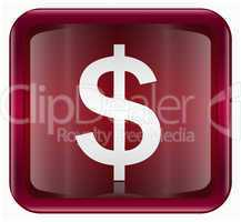 Dollar icon dark red, isolated on white background