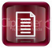 Document icon dark red, isolated on white background