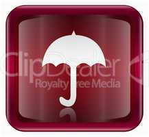 Umbrella icon dark red, isolated on white background