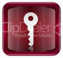 Key icon dark red, isolated on white background