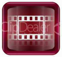 Film icon red, isolated on white background