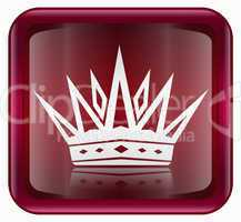Crown icon red, isolated on white background