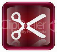Scissors icon red, isolated on white background