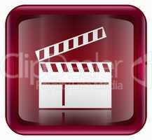 movie clapper board icon red