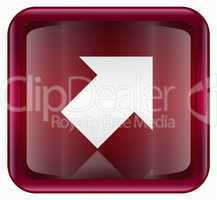 Arrow icon red, isolated on white background