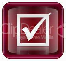 check icon red, isolated on white background