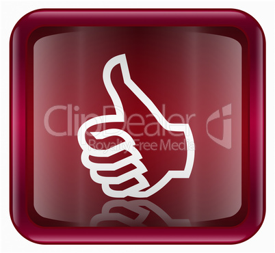 thumb up icon, approval Hand Gesture red, isolated on white back