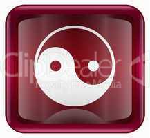 yin yang symbol icon red, isolated on white background