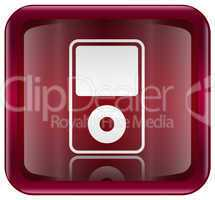 mp3 player red, isolated on white background