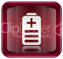 Battery icon red, isolated on white background