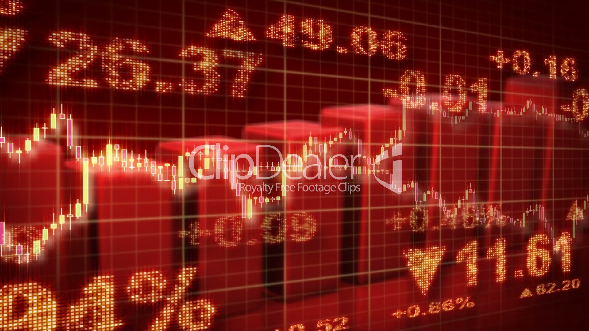 Stock Market Red Loopable Business Background Royalty