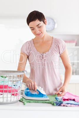 Charming Woman ironing clothes