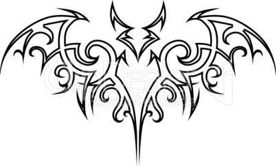 Vector tattoo bat tribal.