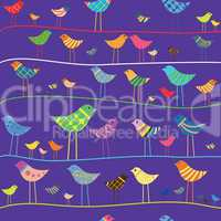 Funny bird. Seamless pattern.