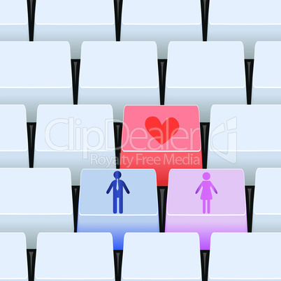Love button for couple on keyboard.