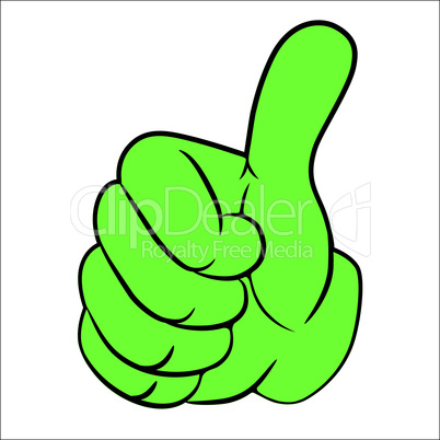 Art vector hand, thumb up.