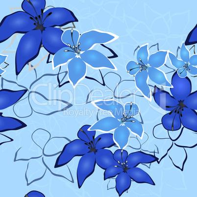 Blue seamless flower background