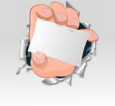 Vector hand, tear paper.