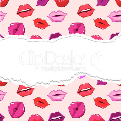 Red torn lip seamless background,