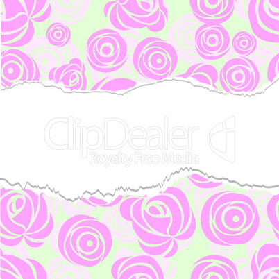 Torn paper, wrapping. Pink art vector rose pattern.