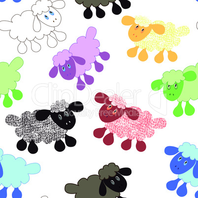 Seamless wallpaper pattern cartoon sheep lamb vector illustration background
