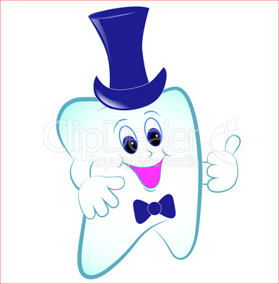 Happy tooth vector with thumb and hat.