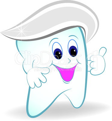 Cartoon tooth with toothpaste.