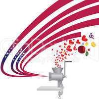 Meat grinder produce USA flag