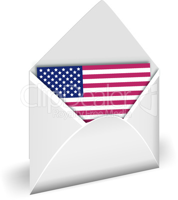 USA flag in opened envelope vector.