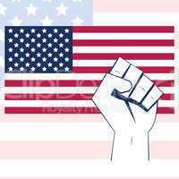 USA flag with fist