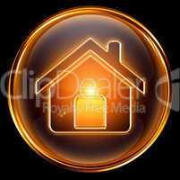 House icon gold, isolated on black background