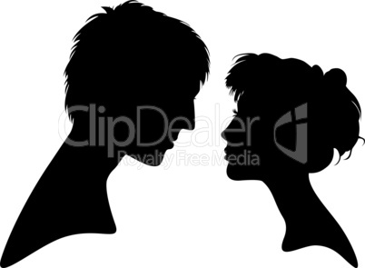 silhouette young woman and men